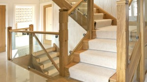 Luxury Timber Staircase with Glass Balustrades